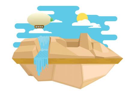 blimp: scenic landscape Illustration
