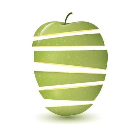 slices: green apple in slices