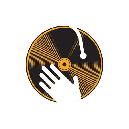 dj turntable: hand on dj turntable