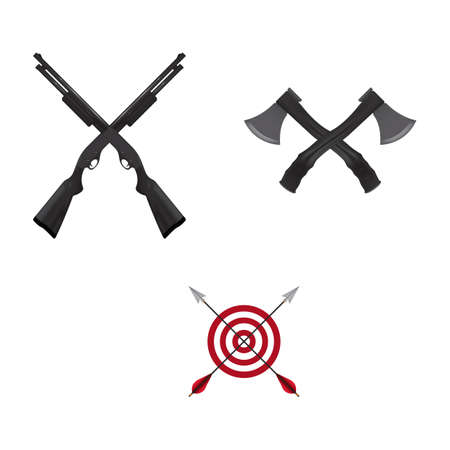 weapons: collection of crossed weapons Illustration