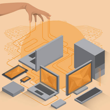 connecting: hand with circuit connecting computer devices Illustration