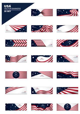 미국 국기 배너 세트 일러스트