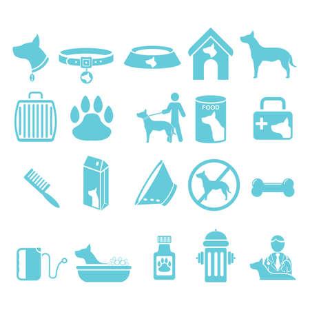 bath treatment: set of dog icons Illustration