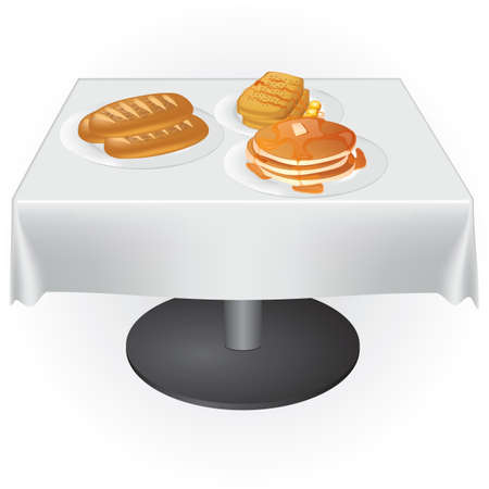 french toast: food on table Illustration
