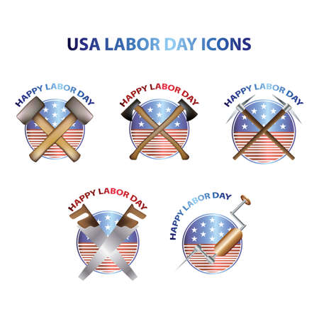drilling machine: usa labor day icons