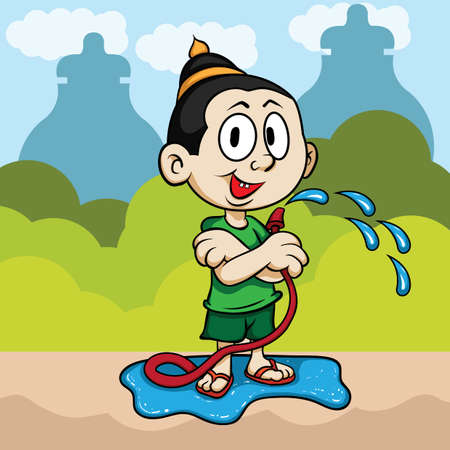 songkran: man celebrates songkran