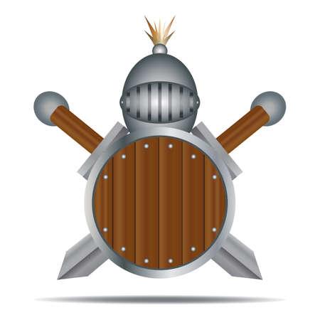 knight helmet: knight helmet with swords and shield Illustration