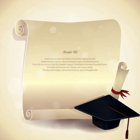 scrool: graduation hat and certificate poster Illustration