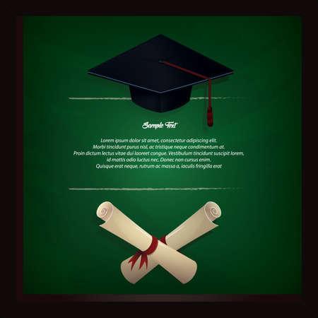 chapeau de graduation et cadre de certificat Vecteurs