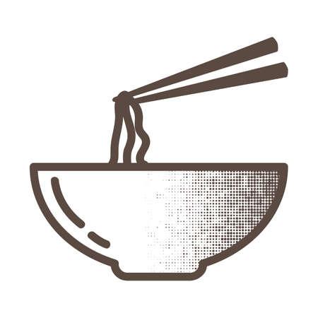 noodles: bowl of noodles Illustration