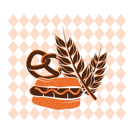 pretzel: pretzel and wheat Illustration