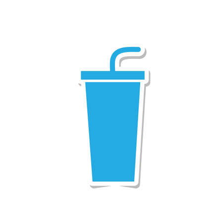 paper cup: paper cup with straw sticker