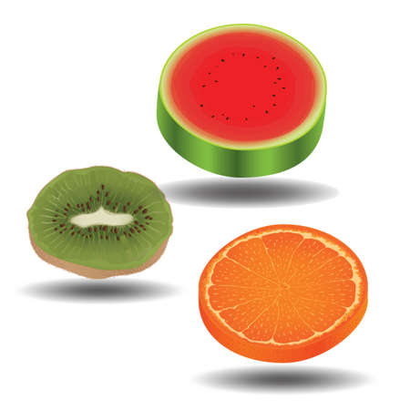 slices: collection of fruit slices Illustration