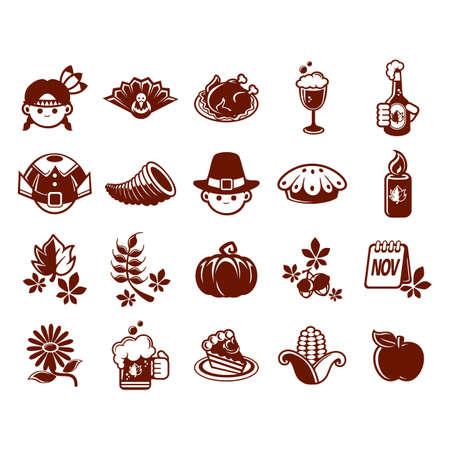 pilgrim costume: collection of thanksgiving icons Illustration