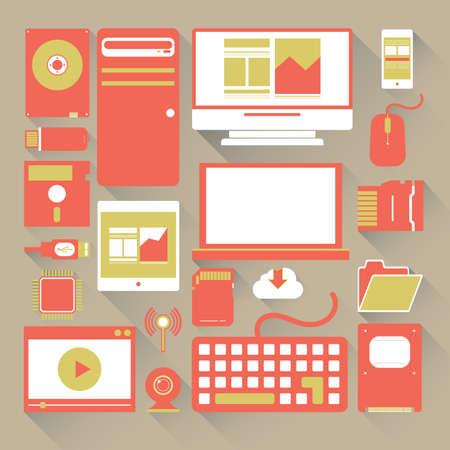 conjunto de iconos de ordenador Ilustración de vector