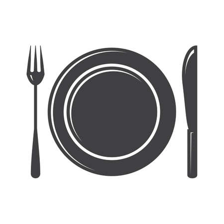 plate: plate with fork and knife Illustration