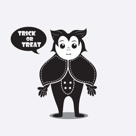 trick or treat: person in a costume saying trick or treat