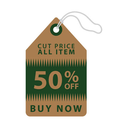 on and off: fifty percent off tag