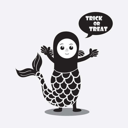 treat: person in a costume saying trick or treat