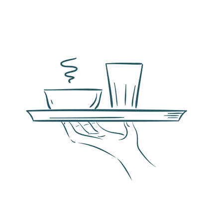 food tray: hand holding a food tray Illustration