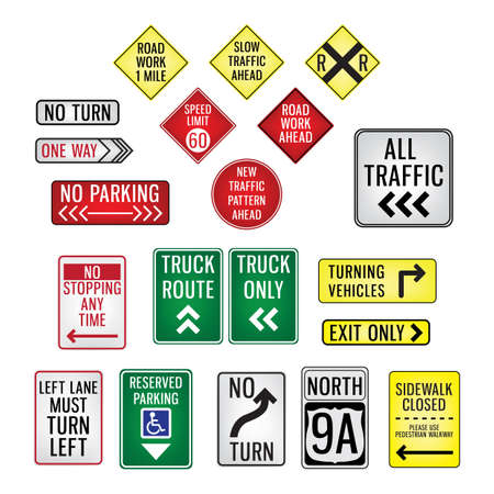 one lane road sign: collection of road signboards