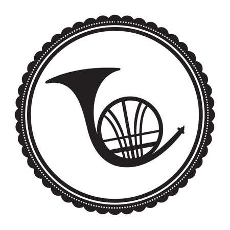 A french horn illustration. Illustration
