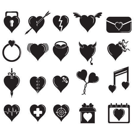 sword and heart: set of heart icons Illustration