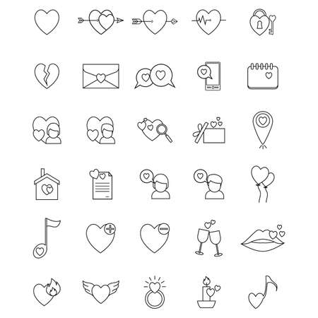 diamond candle: set of love icons Illustration