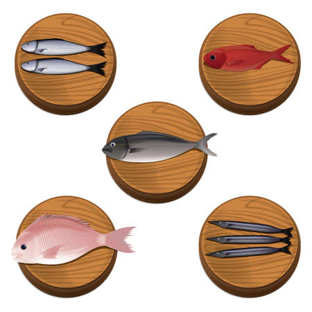 fishes: fishes on chopping boards Illustration