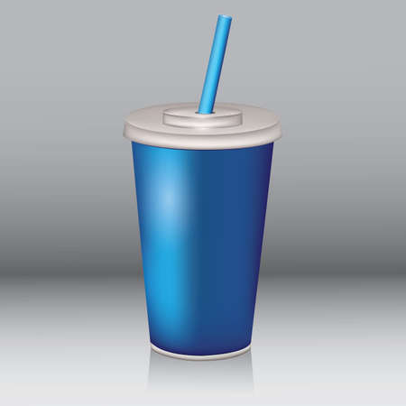 colas: paper cup with drinking straw