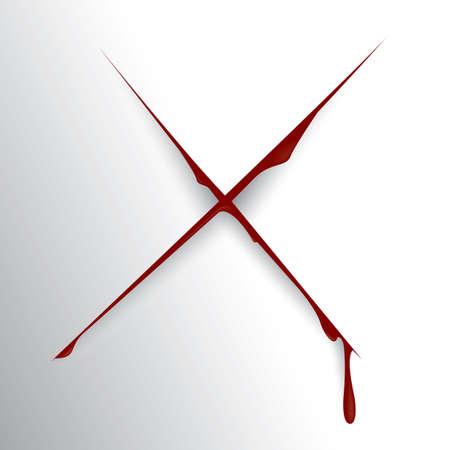 wound: bloody cut wound Illustration