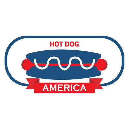 hot dog label: hot dog label Illustration