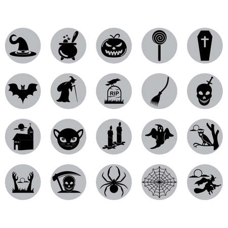 flying coffin: set of halloween icons Illustration