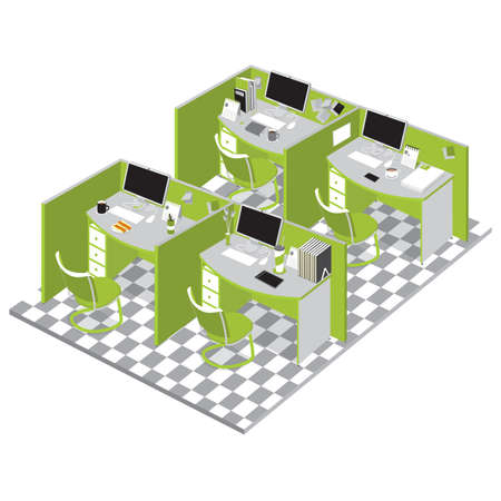 cubicle: office cubicles Illustration