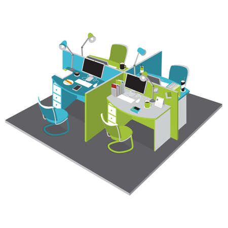 office cubicle: office cubicles Illustration