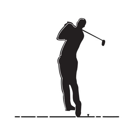 playing golf: silhouette of man playing golf
