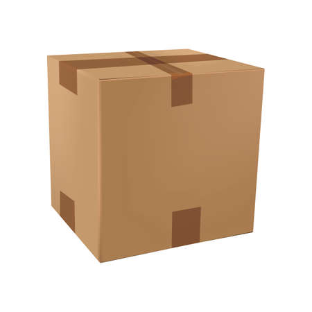 packed: cardboard box Illustration