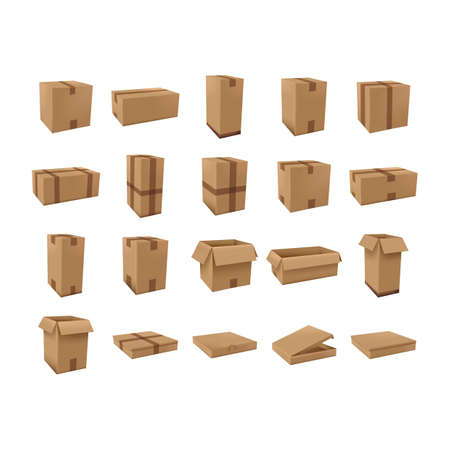 three dimensional shape: cardboard boxes set
