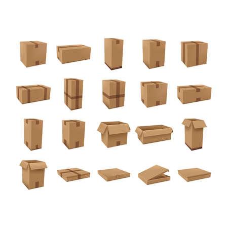 des boîtes de carton mis en