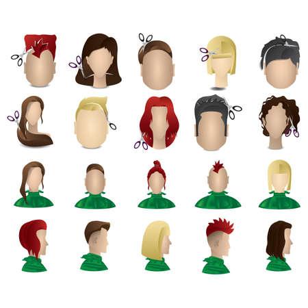 haircuts: set of haircuts Illustration