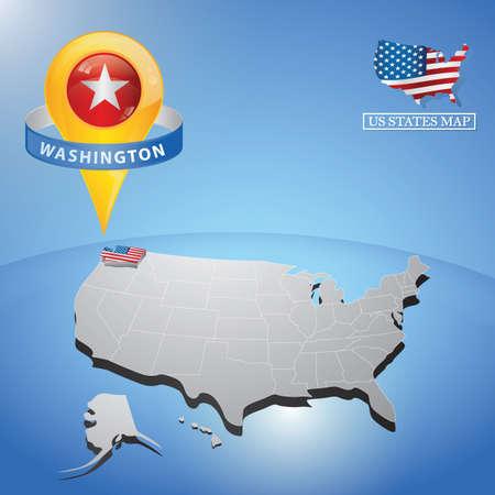 washington state: washington state on map of usa Illustration