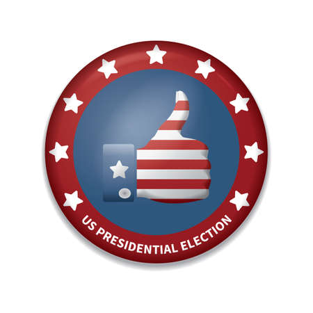 thumbsup: usa presidential election badge Illustration