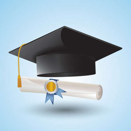 scroll: mortarboard and scroll