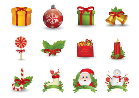 x mas card: set of christmas icons