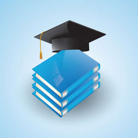 mortarboard: mortarboard and books