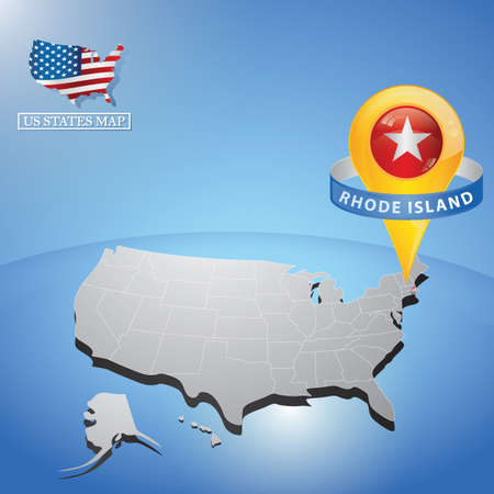 island state: rhode island state on map of usa Illustration