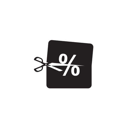 percentage: scissors cutting a percentage icon Illustration