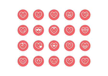 skeptical: collection of heart smiley icons