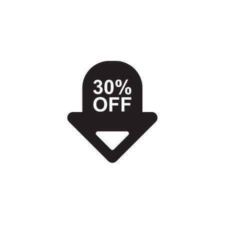 the 30: 30 percent off sign Illustration