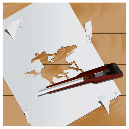 cutout: paper cutout of man riding on horse